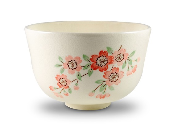 Matcha Bowl with Cherry Blossom Motif